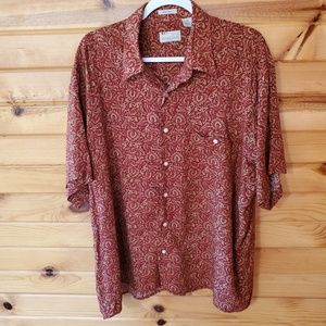Natural Issue Red & Tan Rayon Button Down Shirt